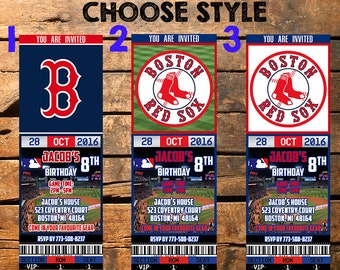 Boston Red Sox Birthday Ticket Invitation, Boston Red Sox Invite, Boston Red Sox, Boston Red Sox Invitations