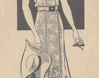 "1930s Vintage Sewing Pattern DRESS B36"" (R505) MARIAN MARTIN 9913"