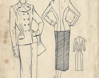 "1940s Vintage Sewing Pattern SUIT-SKIRT & JACKET B34"" (155) Butterick 5026"