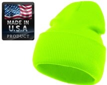 Plain Beanie Ski Hat Skully Solid Cap Made in USA Etsy-SKIHAT NGRN