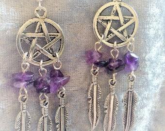 Pentagram  Pendant Dream Catcher Necklace