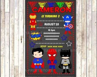 Superhero Chalkboard Invitation, printable Superhero party Invitation, Chalkboard Superhero Invitation - Digital File