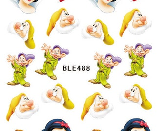 Water Transfer Watermark Pretty Designs Art Decal Sticker Stamping Beauty Manicure Nail Decoration Snow White and the 7 dwarfs Disney BLE488