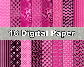 Barbie - Digital Paper - 16 jpeg files 300 dpi - For you Barbie Girl Party, Cardmaking, Scrapbooking, and More