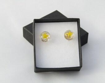 Yellow star fused glass stud earrings
