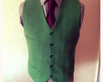 Winter heavy wool Green Harris Tweed Waistcoat Wedding Party Groomsmen Custom made Vest Best Man