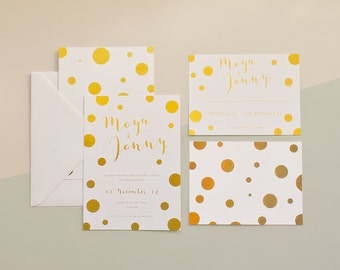 Polka Dot Gold Foil Wedding Invitation