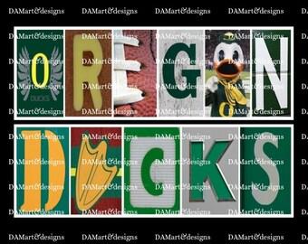University of Oregon Ducks Framed Alphabet Photo Art
