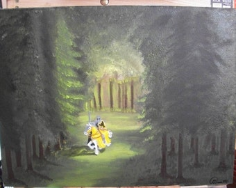 Ritterwald, Knight painting, Forest landscape, Medieval painting, fantasy, oil painting, nature art, wilderness art, landscape, original art