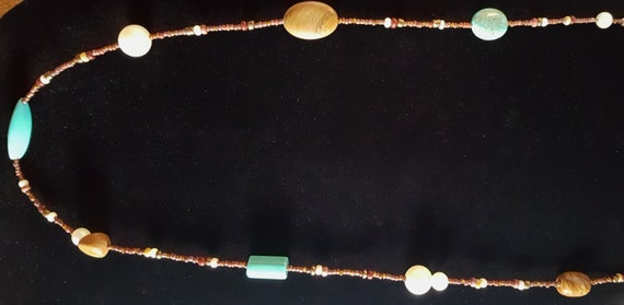 Turquoise Tan Jasper Long Necklace / Pictured Jasper and Turquoise and Pearl Necklace / Hippie Necklace / Boho Jewelry /NS61008