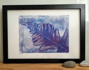 Fern monoprint, monotype, fern leaf, floral print, original artwork, abstract art, lilac print art, blue garden plant, forest plant, jungle