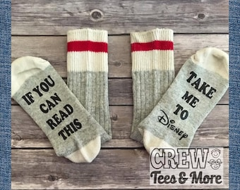 Novelty Socks, Take me to Disney, Novelty Gift Socks, Christmas Gift Socks, Gag Gift, Disney Vacation Gift, Stocking Stuffer