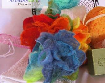 Blue Felted Olive Oil Soap / Handmade / Fragrance Free / Exfoliate / Women's Gift Idea / Men's Gift Idea