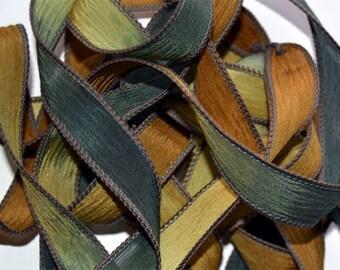 """1PC. WOODLAND 42"""" hand dyed wrist wrap bracelet silk ribbon//Yoga wrist wrap bracelet ribbons//Hand dyed Boho Silk wrist wrap ribbon"""