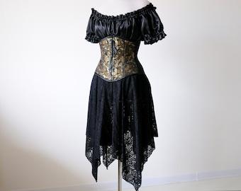 Halloween Witch costume adult malificent black Fantasy dress fairy elven vampire corset gown ren faire medieval renaissance clothing woman