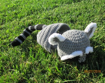 Baby Racoon Hat and Diaper Cover Costume Photo Prop