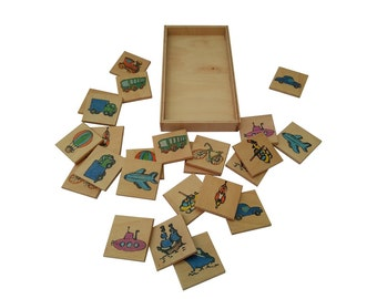 Wooden matching game, Memory game, Montessori learning toy, Transportation Memory game, Waldorf, Wood toy, Educational toy