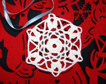 White Crocheted Beaded Handmade Snowflake Christmas Decoration