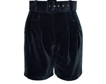 Black Velvet High Waisted Shorts UK 8/10
