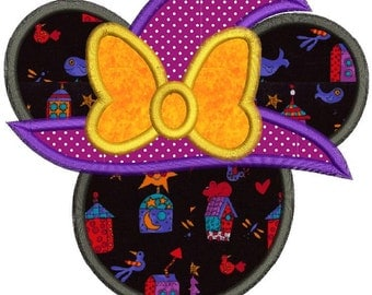 Halloween Minnie Mouse Witch Applique Design 3 sizes instant download