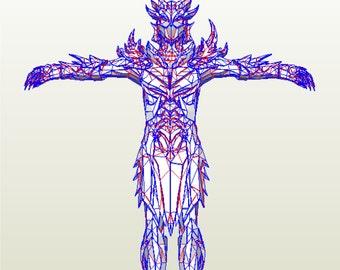 Skyrim Daedric armor suit replica patterns for pepakura EVA Foam  to build your own