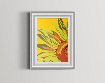 Sunflower Art Print abstract sunflower on yellow background - wall art - Colourful Flower Print