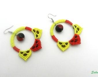 Earrings, macrame, creole, red, yellow, rings, seeds