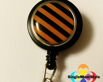 Orange and Black stripe retractable badge reel