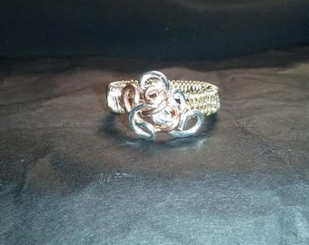 Three-Toned Woven Wire Ring