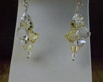 swarovski earring with jonquil and clear crystals