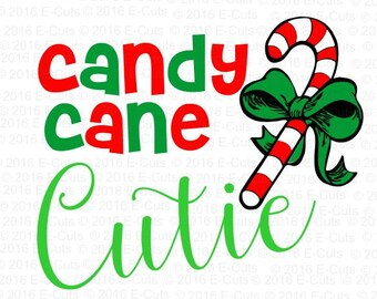 Candy Cane Cutie SVG DXF Digital Download Vinyl Cut File JPEG Printable T Shirt Design Cut File Holiday Christmas Winter Candy Bow Cutie