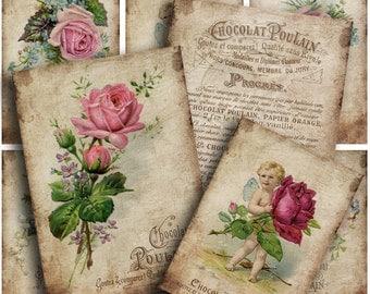 Chocolait Poulain Background / gift tags gift cards / collage sheets / french ephemera / shabby chic roses /ATC background /embellishment AK