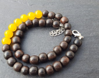 Wood necklace with yellow stone beads