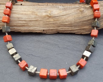 Cube necklace coral and pyrite