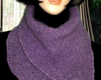 Hand Knit Scarf, knit mohair Scarf, Infinity Scarf,Hand knit mohair,Knit mohair Cowl-collars,Infinity cowl-collars,Neck warmen,Lilac Scarf