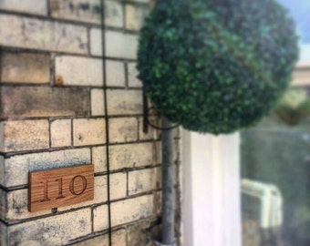 Solid oak bespoke house number sign - three numbers