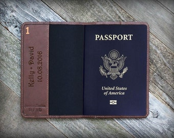 Father's Day Gift - Passport Custom Personalized - Anniversary Gift - Leather Passport Holder - Travel Document - Husband Gift - RFID Wallet