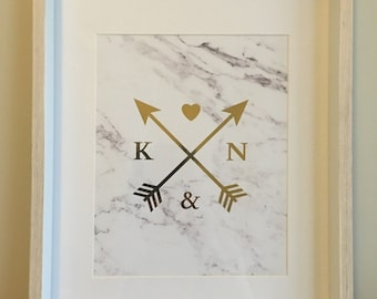 Framed Initial, Arrows and Heart Gold Foil Print on Marble Printed Paper
