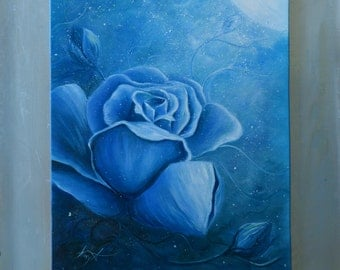 Original Fantasy Oil Painting Large Flowers Echantened Blue Rose Moonlight Rose *Midnight Blue Rose*