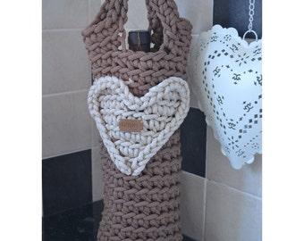 Crochet Love Heart Wine Bag