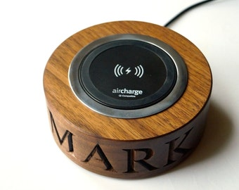 Personalised Wooden Wireless Smartphone Chargers