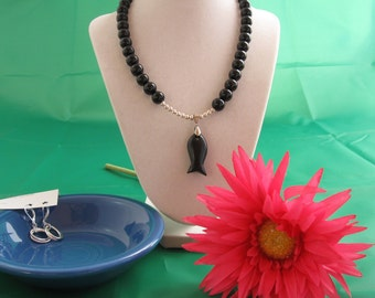 Black Onyx Beaded Necklace with Fish Pendant