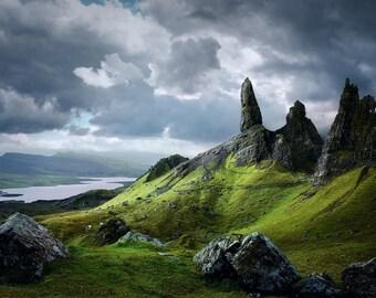 Old man of Stor, Isle of Skye, Scotland, mountain, landscape, storm, rocks, grass, photography