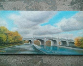 Original Oil Painting, Rideau Canal Bridge, Ottawa