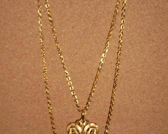Vintage TRIFARI - Double Strand Chain Necklace with Scroll Pendant 1960s/1970s