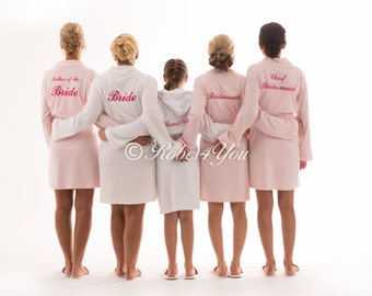 Soft 100% cotton embroidered bridal robes and gift boxes