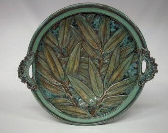 Ceramic Platter Plate - Green Bamboo Pattern