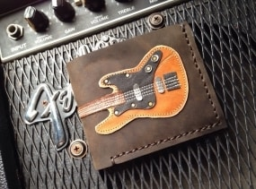 Hand Stitch Men Wallet Bass Guitar Colored Wood