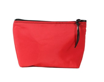 "7"" Red Nylon fabric cosmetic bag/pouch"