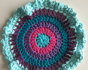 Boho  Dishcloth, Free Shipping,  Retro colors cotton dishcloth ,  kitchen trivet art,  dish cloth , ready to ship, dish rags, dish scrubbers
